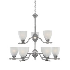 Apollo Nine Light Chandelier in Satin Platinum
