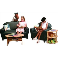 Vinyl Funky Overstuffed Child Sofa and Chair Set