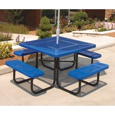 Square Picnic Table with Perforated Pattern