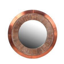 Wood & Copper Round Wall Mirror