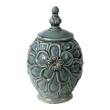 Vintage Crackle Lidded Decorative Jar