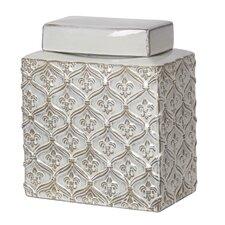 Fleur de Lis Decorative Ceramic Jar with Lid