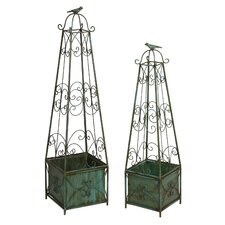 2 Piece Square Topiary Stand Set