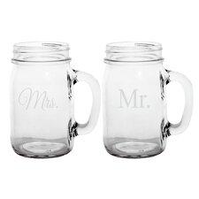 Mr. & Mrs. Old Fashioned Drinking Mason Jar (Set of 2)