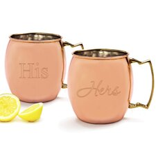 2 Piece His / Hers Moscow Mule Copper Mug with Unique Handle Set