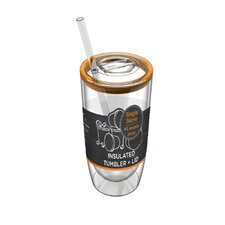 Insulated Tumbler with  Lid and Swizzle Straw