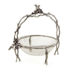 Bird and Branches Handled Basket