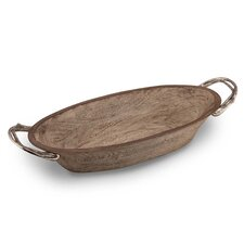 Weathered Wood Handled Oval Serving Bowl