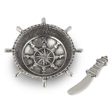 Nautical Steering Wheel Dip Dish and Spreader (Set of 2)