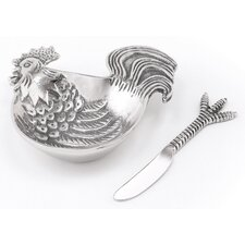 Rooster Dip Dish and Spreader (Set of 2)