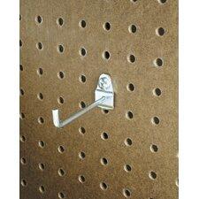 DuraHook 4 In. Single Rod 30 Degree Bend 3/16 In. Dia. Zinc Plated Steel Pegboard Hook for DuraBoard, 10 Pack