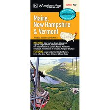 Maine/New Hampshire/Vermont State Laminated Map