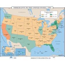 U.S. History Wall Maps - Immigrants to the U.S. 1990