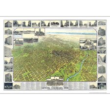 Denver 1908 Historical Print Mounted Wall Map