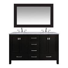 """Malibu 60"""" Double Bathroom Vanity Set with Mirror"""