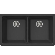"ProQuartz 33"" x 19"" Undermount Double Bowl Kitchen Sink"