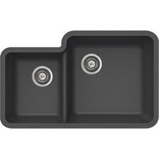 "ProQuartz 34"" x 21"" Undermount Double Bowl Kitchen Sink"