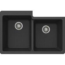 "ProQuartz 33"" x 22"" Undermount Double Bowl Kitchen Sink"
