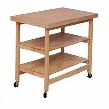 Folding Kitchen Island with Wood Top