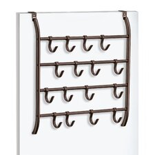 Over Door Accessory, Scarf, & Jewelry Organizer - 16 Adjustable Hooks