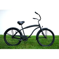 "Men 26"" Single Speed Aluminum Beach Cruiser in Flat Black"
