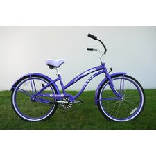 "Ladies 26"" Single Speed Aluminum Beach Cruiser in Purple"