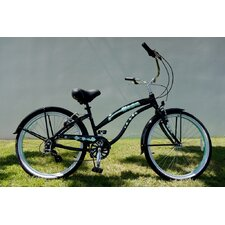 "Ladies 26"" Seven Speed Aluminum Beach Cruiser in Black"