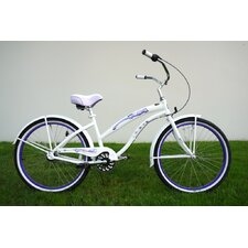 "Ladies 26"" Three Speed Aluminum Beach Cruiser with Purple Wheels"