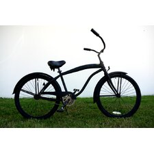 26 Inch Men Single Speed Premium Beach Cruiser - Flat Black with Black Wheels