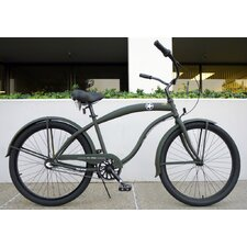 26 Inch Men Three Speed Premium Beach Cruiser - Flat Army Green with Black Wheels