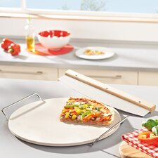 Round Ceramic Pizza Stone with Carrying Tray and Slicer