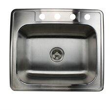 "25"" x 22"" Single Bowl Stainless Steel Kitchen Sink"