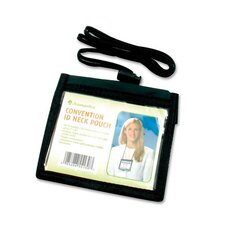 "ID Neck Pouch,Convention,Adjustable 30"" Cord,4""x3"",Black (Set of 2)"