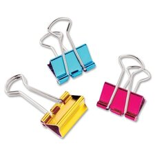"Mini Binder Clip, 1/2"", 12 per Pack, Metallic Assorted (Set of 3)"