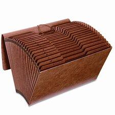 Accordion Files w/Flap, 21 Pockets, 1/3 Tab, Letha Tone, Legal, Brown