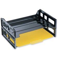 "Stackable Desk Trays, Side Load, 13-3/16""x9""x2-3/4"", 2 per Pack, Black"