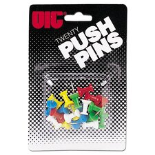 "Push Pins, Plastic, Assorted Colors, Head 1/2"" L"