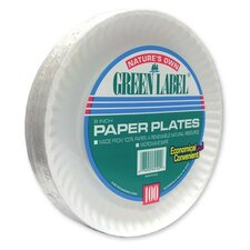 "Paper Plates, Green Label, 9"" Plate, 1200/CT, White"