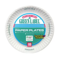 "(100 Per Container) 9"" Uncoated Paper Plate in White"