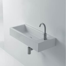 "Hox 20"" Ceramic Wall Mounted Bathroom Sink with Left Faucet"