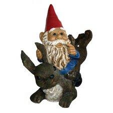 Garrold Gnome On Rabbit Statue