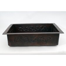 "33"" x 22"" Handmade Drop-in Single Well Floral Kitchen Sink"