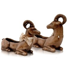 2 Piece Ceramics Christmas Deer Set