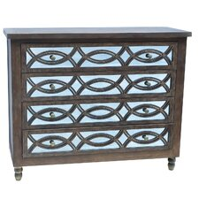 Beacon Hill 4 Drawer Wood and Mirror Chest