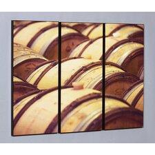 Oak Wine Barrels 3 Piece Framed Photographic Print Set