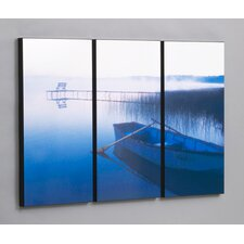 Row Boat in Tranquility 3 Piece Framed Photographic Print Set