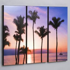 Maui Sunset with Sailboat 3 Piece Framed Photographic Print Set