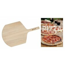 2 Piece Pizza Recipe Book and Wood Peel Set