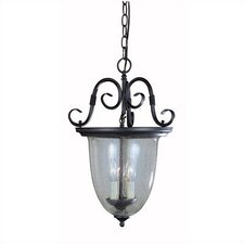 Sophisticated Detail Smoke Bell 3 Light Outdoor Hanging Lantern