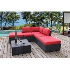 Pasadina Corner Sectional 6 Piece Deep Seating Group with Cushions (Set of 6)